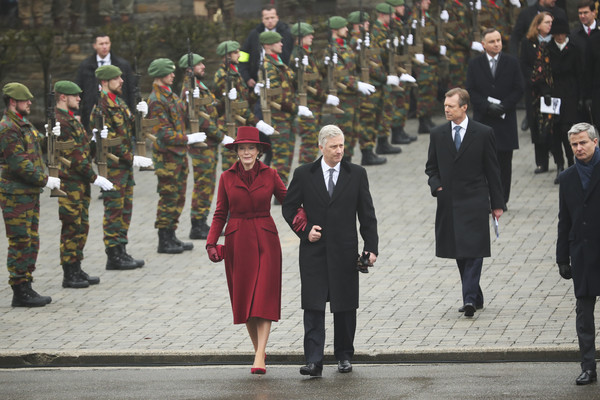King Philippe Of Belgium And Queen Mathilde Attend The 75th Battle Of The Bulge Anniversary Remembrance Ceremony In Bastogne [battle of the bulge,people,uniform,event,military,crowd,military officer,military rank,troop,marching,military uniform,philippe of belgium,mathilde,henri grand duke of luxembourg,anniversary remembrance ceremony in bastogne,l-r,belgium,bastogne,remembrance ceremony]