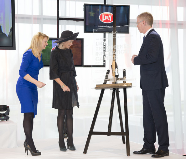 (L-R) Pernille La Lau, Queen Maxima of The Netherlands and Alexander van der Lely opens the Sustainable Industrial Centre Lely Campus on January 30, 2014 in Maassluis, Netherlands.