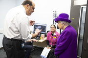 Queen Elizabeth II meeting Sherif Khalil, Consultant Surgeon, as she opens the new premises of the Royal National ENT and Eastman Dental Hospital on February 19, 2020 in London, England.