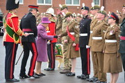 Queen Elizabeth II reviews members of The Royal Welsh Regimental Family and one of two regimental goats as she visits to mark St David's Day at Lucknow Barracks on March 3, 2017 in Tidworth, England.
