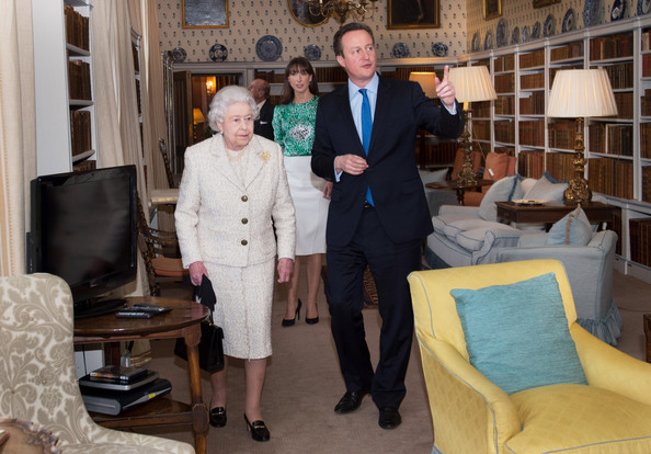 Queen Elizabeth II is shown around Chequers by Prime Minister David Cameron where she and Prince Philip, Duke of Edinburgh had lunch with the PM and his wife Samantha, on February 28, 2014 near Aylesbury, England. It is the first time the Queen has visited the PM's official country residence in Buckinghamshire since 1996.