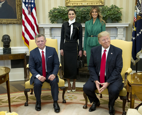 Donald Trump And Melania Trump Welcome Jordan's King Abdullah And Queen Rania To White House