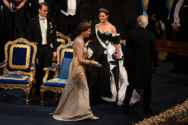 The Nobel Prize Award Ceremony 2019 [event,fashion,dress,ceremony,formal wear,gown,wedding,performance,nobel prize award ceremony,sweden,concert hall,stockholm,victoria,silvia,daniel,carl xvi gustaf of sweden]