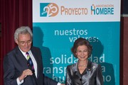 "Luis del Olmo (L) and Queen Sofia of Spain (R) attend the 25th anniversary of the ""Proyecto Hombre"" association at the Ateneo de Madrid on November 27, 2014 in Madrid, Spain."