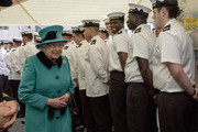Queen Elizabeth II meets the ships chefs as she visits HMS Sutherland in the West India Dock as the ship celebrates its 20th anniversary of her Commissioning on October 23, 2017 in London, England.