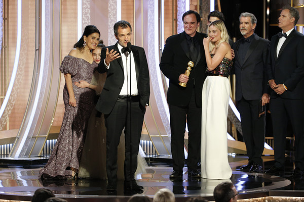NBC's '77th Annual Golden Globe Awards' - Show [handout photo,once upon a time...in hollywood,event,formal wear,suit,white-collar worker,performance,tuxedo,david heyman,award,comedy,best motion picture,nbc,nbcuniversal media llc,77th annual golden globe awards,show,quentin tarantino,shannon mcintosh,ricky gervais,leonardo dicaprio,once upon a time in hollywood,74th golden globe awards,73rd golden globe awards,1917,golden globe award for best motion picture \u2013 musical or comedy,rick dalton]