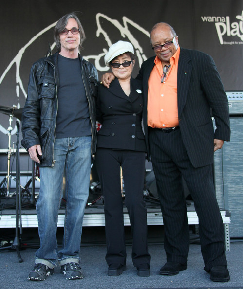 lynne sweeney browne. (L-R) Musicians Jackson Browne, Yoko Ono and Quincy Jones appear on stage in support of the John Lennon Educational Tour Bus at the 2010 NAMM Show - Day 1