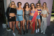 (L-R) Guest, Model Taylor Hill, Model Sara Sampaio, Model Alessandra Ambrosio, Model Josephine Skriver, and guest arrive at REVOLVE Desert House on April 16, 2016 in Thermal, California.