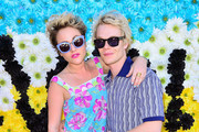 Actress Jamie Winstone (L) and Alfie Allen attends REVOLVEclothing's VIP Festival Event - Day 2 at The Saguaro Palm Springs on April 14, 2013 in Palm Springs, California.