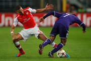Andy Najar of Anderlecht takes on Kieran Gibbs of Arsenal during the UEFA Champions League Group D match between RSC Anderlecht and Arsenal at Constant Vanden Stock Stadium on October 22, 2014 in Brussels, Belgium.
