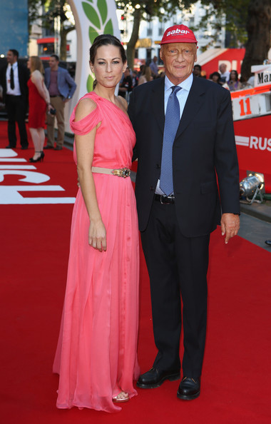 Niki Lauda and wife attend the premeire of Rush.
