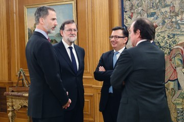 Rafael Catala King Felipe Of Spain Meets The New Minister Of Economy