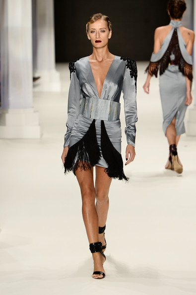 Model Didem Soydan walks the runway at the Raisa-Vanessa Sason show during Mercedes-Benz Fashion Week Istanbul s/s 2014 Presented By American Express on October 10, 2013 in Istanbul, Turkey.