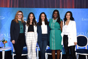 (L-R) Amber Tamblyn, Olivia Munn, Melissa Fumero, Kim Foxx, and Lisa Ling pose onstage during Raising Our Voices: Supporting More Women in Hollywood & Politics at Four Seasons Hotel Los Angeles in Beverly Hills on February 19, 2019 in Los Angeles, California.