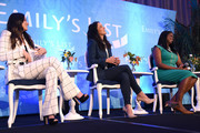 (L-R) Olivia Munn, Melissa Fumero, and Kim Foxx speak onstage during Raising Our Voices: Supporting More Women in Hollywood & Politics at Four Seasons Hotel Los Angeles in Beverly Hills on February 19, 2019 in Los Angeles, California.