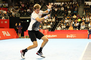 CHOFU, JAPAN - OCTOBER 04 Kevin Anderson of South Africa  plays a fourhand in the Singles second round against Frances Tiafoe of the United States on day four of the Rakuten Open at Musashino Forest Sports Plaza on October 4, 2018 in Chofu, Tokyo, Japan.