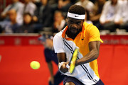 Frances Tiafoe of the United States plays a backhand in the Singles second round against  Kevin Anderson of South Africa on day four of the Rakuten Open at Musashino Forest Sports Plaza on October 4, 2018 in Chofu, Tokyo, Japan.