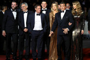 "(L-R) Jeff Greenstein, Victor Hadida, Kevin King, Sophia Rose Stallone, Sylvester Stallone and Jennifer Flavin attend the screening of ""Rambo - First Blood"" during the 72nd annual Cannes Film Festival on May 24, 2019 in Cannes, France."