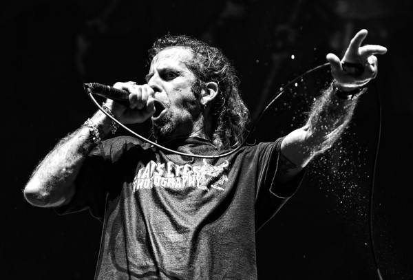 Lamb of God in Concert at MGM Resorts Village in Las Vegas [image,performance,music,singer,performing arts,black-and-white,music artist,concert,musician,singing,human,randy blythe,filters,las vegas,mgm resorts village,nevada,las vegas village,lamb of god,lamb of god,concert]