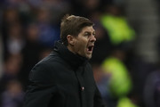 Rangers manager Steven Gerrard reacts during the UEFA Europa League Group G match between Rangers and Spartak Moscow at Ibrox Stadium on October 25, 2018 in Glasgow, United Kingdom.