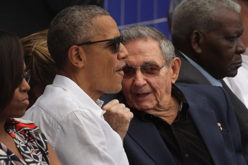 Raul Castro President Obama Attends Tampa Bay Devil Rays v Cuban National Team Baseball Game In Havana