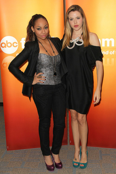"Raven-Symone Actresses Raven Symone (L) and Majandra Delfino attend the Disney ABC Television Group Host ""May Press Junket 2011"" at ABC Studios on May 14, 2011 in Burbank, California."