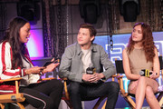 (L-R) Aisha Tyler, Tye Sheridan and Olivia Cooke speak onstage during Ready Player One LIVE at SXSW, Powered by Twitch and IMDb on March 11, 2018 in Austin, Texas.
