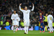 Sergio Ramos of Real Madrid celebrates following his sides victory in the Liga match between Real Madrid CF and FC Barcelona at Estadio Santiago Bernabeu on March 01, 2020 in Madrid, Spain.