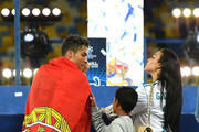 Cristiano Ronaldo of Real Madrid celebrates with his family following his sides victory in the UEFA Champions League Final between Real Madrid and Liverpool at NSC Olimpiyskiy Stadium on May 26, 2018 in Kiev, Ukraine.