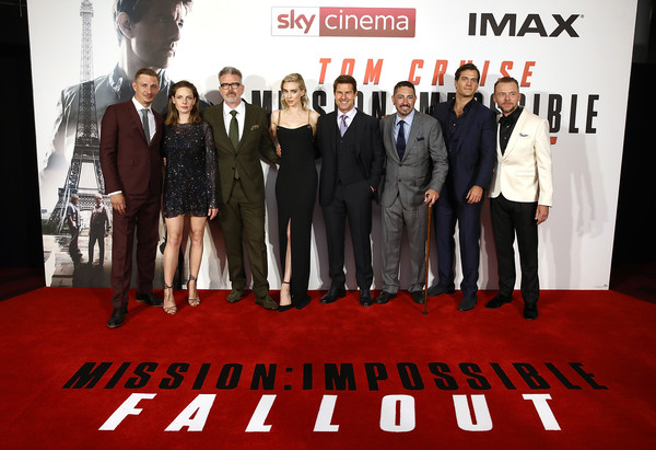 'Mission: Impossible - Fallout' UK Premiere [mission: impossible - fallout,uk premiere of mission: impossible - fallout,red carpet,red,carpet,premiere,event,flooring,suit,team,movie,frederick schmidt,tom cruise,jake meyers,rebecca ferguson,vanessa kirby,l-r,uk,premiere]