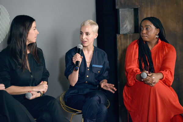 IMG NYFW: The Shows 2019 PARTNERS - February 7 [the talks: meet the front five,the shows 2019,event,conversation,sitting,rebecca minkoff,romy soleimani,lindsay peoples wagner,l-r,new york city,e,spring studios,nyfw]