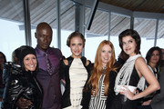 (L-R) Stefanie Koehle, Alena Gerber, Papis Loveday, designer Rebekka Ruetz and Marie Nasemann attend the Rebekka Ruetz Fashion Show at Top Mountain Star on April 26, 2014 at Hochgurgl near Solden, Austria.