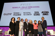 Debra BimBaum, Liz Flahive, Carly Mensch, Cindy Holland, Marta Kauffman, Gloria Allred, Veena Sub and Melissa Rosenberg attend the Rebels and Rule Breakers Panel at Netflix FYSEE at Raleigh Studios on May 12, 2018 in Los Angeles, California.