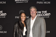 WNBA player A'ja Wilson (L) and WNBA coach Bill Laimbeer arrive at the grand opening celebration at On The Record Speakeasy and Club at Park MGM on January 19, 2019 in Las Vegas, Nevada.