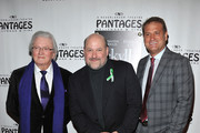 (L-R) Lyricist Leslie Bricusse, composer Frank Wildhorn and director Jeff Calhoun arrive at the opening night of 'Jekyll & Hyde' held at the Pantages Theatre on February 12, 2013 in Hollywood, California.