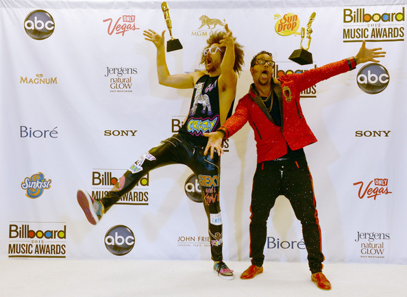 Red Foo Redfoo (L) and Sky Blu of LMFAO, winners of the Hot 100 Song of the Year award, pose in the press room at the 2012 Billboard Music Awards held at the MGM Grand Garden Arena on May 20, 2012 in Las Vegas, Nevada.