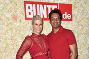 Natascha Gruen and her boyfriend Param Multani during the 'Red Summer Night Of Bunte' at Bar Lehel on July 18, 2018 in Munich, Germany.