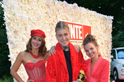 Tiger Kirchharz, Alexander Höller and Darya Gritsyuk attend the Red Summer Night by Bunte.de at Rocco Forte The Charles Hotel on July 09, 2019 in Munich, Germany.