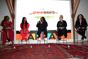 (L-R) Dani Kwateng-Clark, Mj Rodriguez, Stella Meghie, Kasi Lemmons, and Nisha Ganatra speak onstage at Reebok x ARRAY: A Celebration of Women in Film at Array Creative Campus on February 08, 2020 in Los Angeles, California.