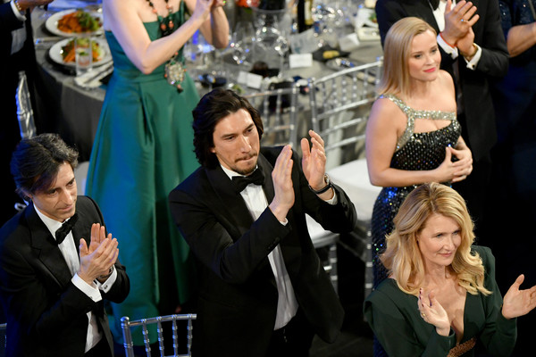 26th Annual Screen Actors Guild Awards - Inside [event,yellow,formal wear,fun,dress,suit,photography,tuxedo,ceremony,premiere,laura dern,reese witherspoon,noah baumbach,adam driver,screen actors guild awards,l-r,california,los angeles,the shrine auditorium,screen actors\u00e2 guild awards,joanne tucker,adam driver,kylo ren,25th screen actors guild awards,noah baumbach,actor,sag-aftra,celebrity,television]