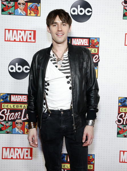 ABC And Marvel Honor Stan Lee [jacket,outerwear,cool,textile,leather,premiere,leather jacket,stan lee,reeve carney,marvel honor,honor,new amsterdam theatre,new york city,abc,marvel]
