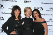 """Liliana Bird, Juliet Stevenson and a guest attend the """"When World's Collide,"""" Voices For Refugees Gala at Villa Saint George on May 17, 2016 in Cannes, France.  (Photo by Luca Teuchmann/Getty Images for International Emerging Film Talent Association (IEFTA))"""