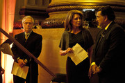 Wolf Blitzer, Queen Noor and Bill Richardson wait to be introduce behind stage during the Refugees International's 32nd Anniversary Dinner at Andrew W. Mellon Auditorium on May 5, 2011 in Washington, DC.