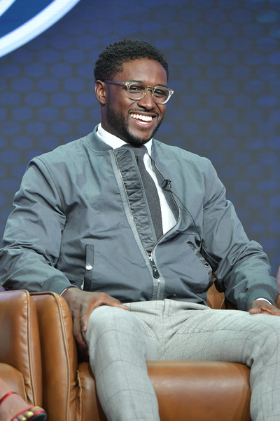 2019 Summer TCA Press Tour - Day 16 [suit,formal wear,outerwear,white-collar worker,sitting,spokesperson,businessperson,blazer,tie,tuxedo,reggie bush,beverly hills,california,the beverly hilton hotel,summer tca press,fox sports,segment,summer tca press tour]