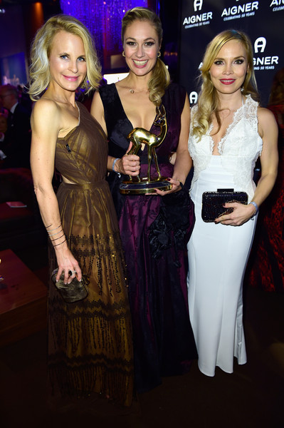 Aigner at Bambi Awards 2015 - Party [premiere,fashion,event,dress,fashion design,carpet,flooring,brown hair,haute couture,regina halmich,sonja kiefer,ruth moschner,aigner at bambi awards,berlin,germany,atrium tower,party,party]
