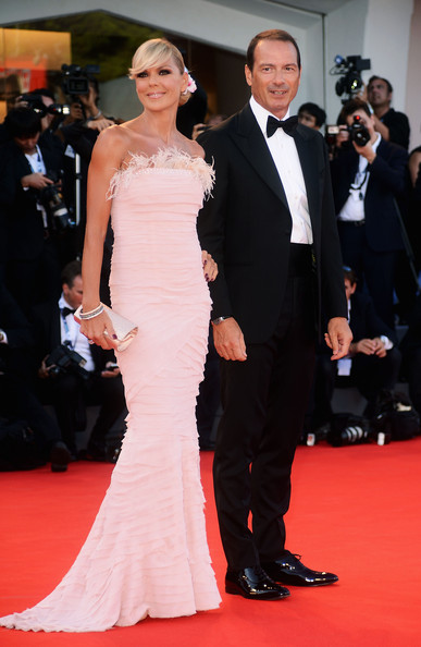 "Matilde Brandi and Marco Costantini attend ""The Reluctant Fundamentalist"" Premiere And Opening Ceremony during the 69th Venice International Film Festival at Palazzo del Cinema on August 29, 2012 in Venice, Italy."