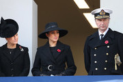 Sophie, Countess of Wessex, Meghan, Duchess of Sussex and Navy Officer Timothy Laurence attend the annual Remembrance Sunday memorial at The Cenotaph on November 10, 2019 in London, England. The armistice ending the First World War between the Allies and Germany was signed at Compiègne, France on eleventh hour of the eleventh day of the eleventh month - 11am on the 11th November 1918.