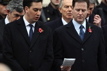 Gordon Brown Nick Clegg Remembrance Sunday Service Held At The Cenotaph