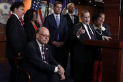 U.S. Rep. Jerrold Nadler (D-NY) (6th L) speaks as (L-R) Rep. Jamie Raskin (D-MD), Rep. Pramila Jayapal (D-WA), Rep. Steve Cohen (D-TN), Rep. Eric Swalwell (D-CA), Rep. Hank Johnson (D-GA), Rep. Sheila Jackson Lee (D-TX) and Rep. David Ciclline (D-RI) listen during a news conference to denounce a meeting between the Justice Department and FBI officials and Rep. Devin Nunes (R-CA) and Rep. Trey Gowdy (R-SC) May 24, 2018 on Capitol Hill in Washington, DC. The White House is arranging two separate meetings, one for House Republicans only and one for bipartisan House and Senate leaders known as the Gang of Eight, to review classified information related to the Russia investigation including the informant the FBI had sent to talk to Trump Campaign advisers.