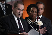 U.S. Rep. Jerrold Nadler (D-NY) (L) speaks as Rep. Sheila Jackson Lee (D-TX) (2nd L) and Rep. David Ciclline (D-RI) (R) listen during a news conference to denounce a meeting between the Justice Department and FBI officials and Rep. Devin Nunes (R-CA) and Rep. Trey Gowdy (R-SC) May 24, 2018 on Capitol Hill in Washington, DC. The White House is arranging two separate meetings, one for House Republicans only and one for bipartisan House and Senate leaders known as the Gang of Eight, to review classified information related to the Russia investigation including the informant the FBI had sent to talk to Trump Campaign advisers.